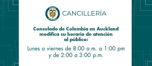 Consulado de Colombia en Auckland modifica su horario de atención al público de diciembre de 2018 a febrero 2019