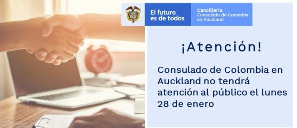 El Consulado de Colombia en Auckland no tendrá atención al público el lunes 28 de enero de 2019