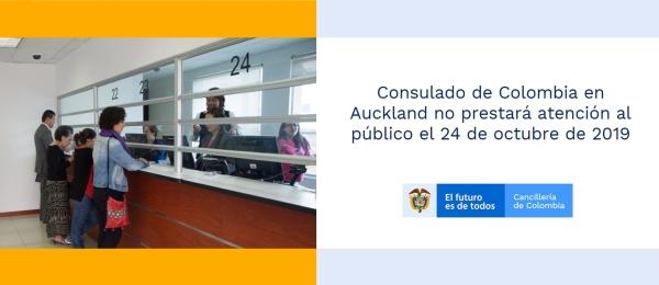 Consulado de Colombia en Auckland no prestará atención al público este 24 de octubre