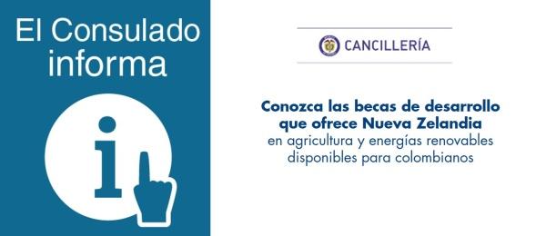 Consulado en Auckland informa que las becas de desarrollo que ofrece Nueva Zelandia en agricultura y energías renovables están abiertas a colombianos